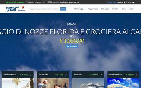 Screenshot of Home Page destinazionesogni.it - Offerte viaggi, vacanze lastminute, prenota la tua vacanza online - captured Oct. 6, 2014