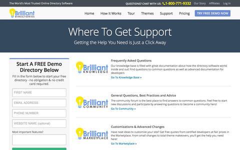 Screenshot of Support Page brilliantdirectories.com - Website Directory Software Support - Directory Software - Directory Script - Directory Template - captured Jan. 7, 2016