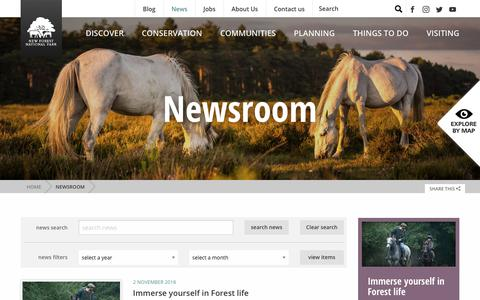 Screenshot of Press Page newforestnpa.gov.uk - Newsroom - New Forest National Park Authority - captured Nov. 7, 2018