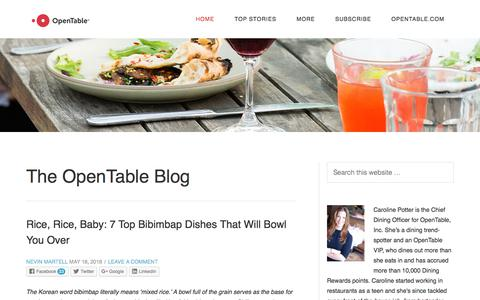 Screenshot of Blog opentable.com - OpenTable Blog - | News and Tips from OpenTable - captured May 20, 2018