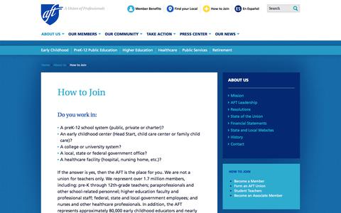Screenshot of Signup Page aft.org - How to Join | American Federation of Teachers - captured July 28, 2018