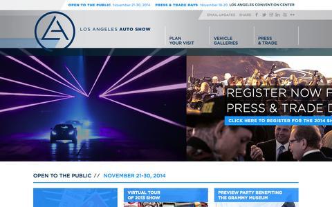 Screenshot of Home Page laautoshow.com - Home | Los Angeles Auto Show - captured Sept. 19, 2014
