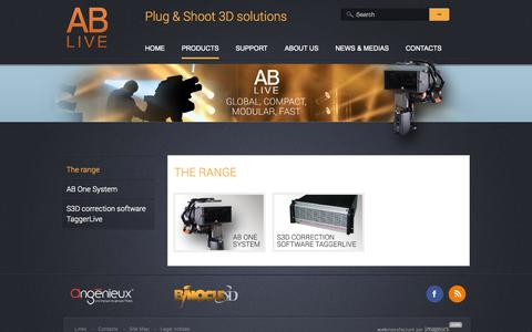 Screenshot of Products Page ablive3d.com - The range | AB liveAB live - captured Oct. 4, 2014