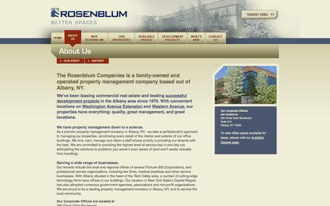 Screenshot of About Page rosenblumcompanies.com - Property Management Company in Albany, NY | The Rosenblum Companies - captured Oct. 6, 2014
