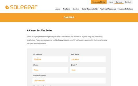 Screenshot of Jobs Page solegear.ca - Careers | Solegear Bioplastic Technologies Inc. - captured Dec. 1, 2016