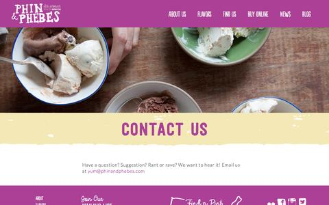 Screenshot of Contact Page phinandphebes.com - Contact Us   Phin & Phebes Ice Cream from Brooklyn, New York! - captured Sept. 20, 2016