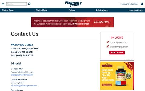 Screenshot of Contact Page pharmacytimes.com - News, Education, and Practical Information for Today's Pharmacist | Pharmacy Times - captured Sept. 20, 2019