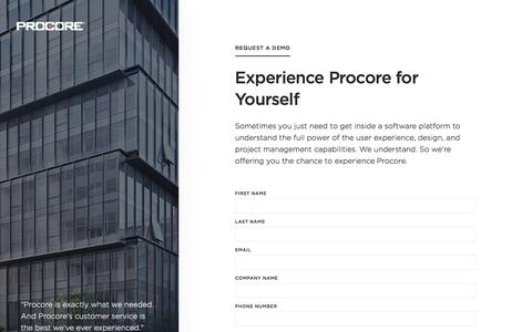 Screenshot of Landing Page procore.com captured Dec. 18, 2017