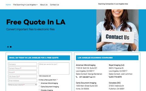 Screenshot of Home Page documentscanning-los-angeles.com - Los Angeles Scanning Companies - Document Scanning in Los Angeles - captured Feb. 1, 2016