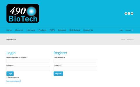Screenshot of Login Page 490biotech.com - My Account | 490BioTech - captured May 10, 2017