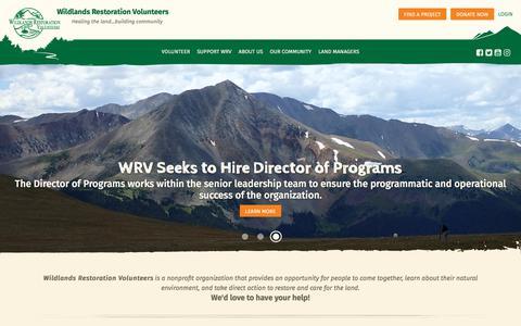 Screenshot of Home Page wlrv.org - Wildlands Restoration Volunteers | Homepage - captured Oct. 21, 2017
