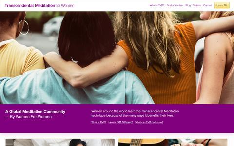 Screenshot of Home Page tm-women.org - Home Page - Transcendental Meditation (TM) For Women - captured Oct. 30, 2018