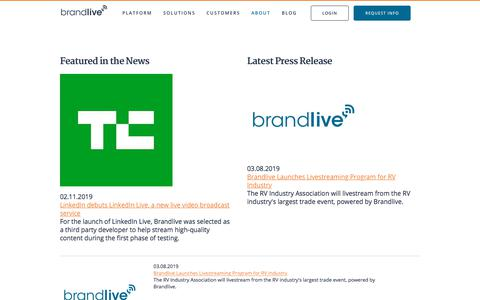 Screenshot of Press Page brand.live - Brandlive   In the News - captured Nov. 27, 2019