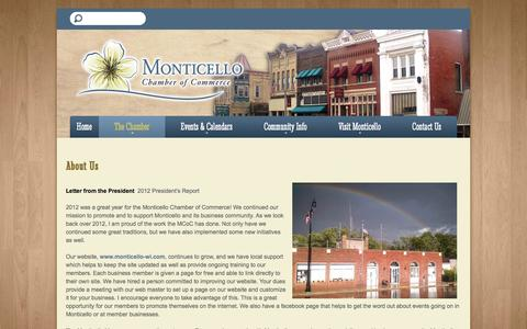 Screenshot of About Page monticello-wi.com - Monticello Chamber of Commerce - captured March 10, 2016