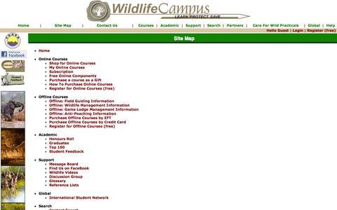 Screenshot of Site Map Page wildlifecampus.com - WildlifeCampus - captured Oct. 7, 2014