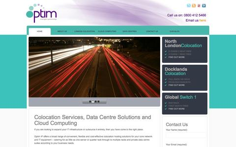 Screenshot of Home Page optimip.co.uk - Colocation Services | Cloud Computing - Optim IP - captured Oct. 7, 2014