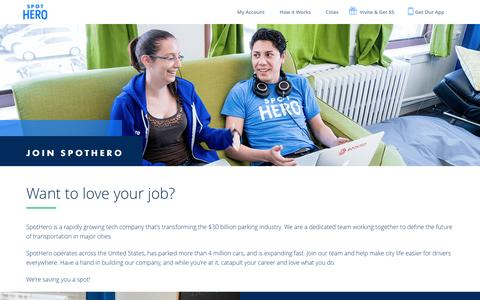 Screenshot of Jobs Page spothero.com - Find Your Spothero Career | Spothero - captured Feb. 26, 2017