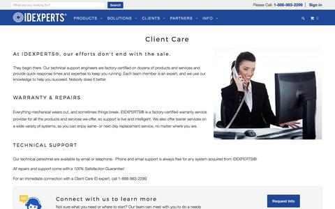 Screenshot of Support Page idexperts.com - Client Care - IDEXPERTS® - captured July 6, 2017