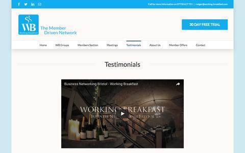 Screenshot of Testimonials Page working-breakfast.com - Testimonials - Working Breakfast - captured Dec. 18, 2016