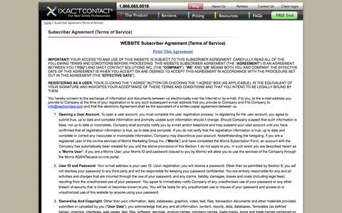 Screenshot of Terms Page ixactcontact.com - IXACT Contact - Subscriber Agreement (Terms of Service) - captured Sept. 22, 2014