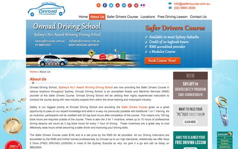 Screenshot of About Page safercourse.com.au - About Us | Safer Drivers Course Sydney, Onroad Driving School - Accredition provided by RMS - captured March 17, 2016