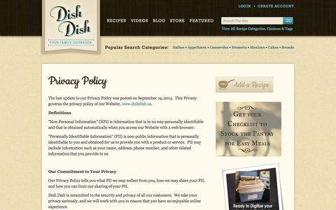 Screenshot of Privacy Page dishdish.us - Dish Dish privacy policy - captured Aug. 27, 2016