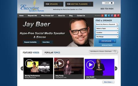 Screenshot of Home Page executivespeakers.com - Motivational Keynote Speakers Bureau - captured Oct. 3, 2014