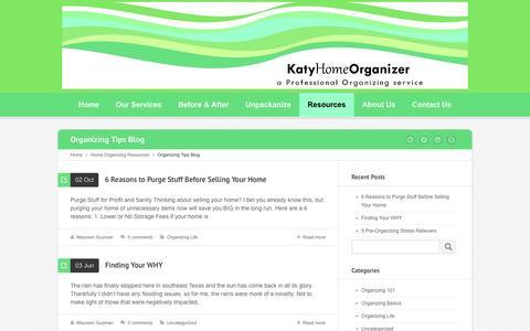 Screenshot of Blog katyhomeorganizer.com - Organizing Tips Blog | Katy Home Organizer | Houston - captured Jan. 9, 2016