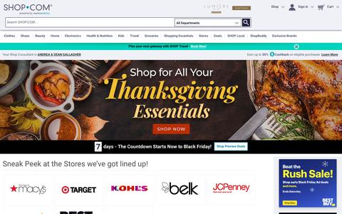 Screenshot of Home Page shop.com - SHOP.COM - Online Shopping Marketplace: Clothes, Shoes, Beauty, Electronics and More - captured Nov. 15, 2018