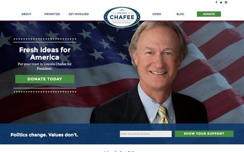 Screenshot of Home Page chafee2016.com - Lincoln Chafee Presidential Campaign 2016 - captured Aug. 6, 2015