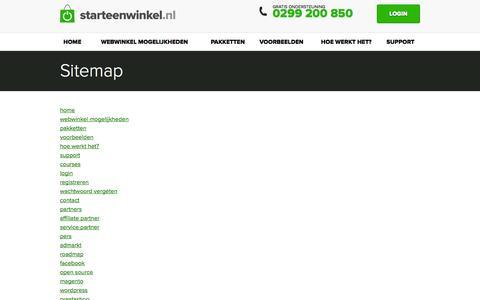 Screenshot of Site Map Page starteenwinkel.nl - Sitemap - Starteenwinkel.nl - captured Sept. 22, 2014
