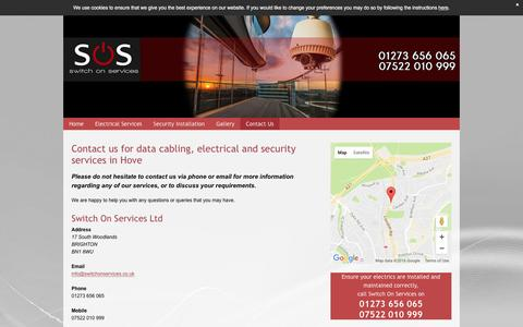 Screenshot of Contact Page switch-on-services.co.uk - Data cabling services in Brighton - Switch On Services Ltd - captured Dec. 8, 2016