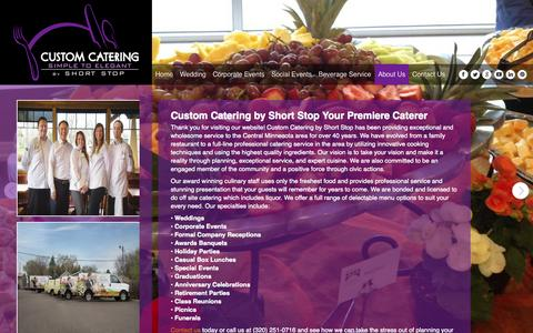 Screenshot of About Page shortstopcustomcatering.com - About Us - Custom Catering - captured Oct. 3, 2014
