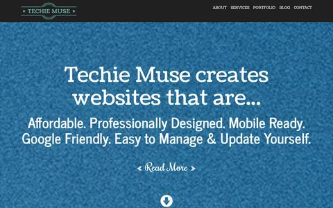 Screenshot of Home Page techiemuse.com - Web Design & Graphic Design for Independent Contractors, Freelancers, Life Coaches, Small Businesses & Entrepreneurs  |  Affordable WordPress Website Designs - captured Sept. 19, 2014