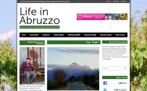 Screenshot of Team Page lifeinabruzzo.com - About the Life in Abruzzo Team - captured Sept. 30, 2014