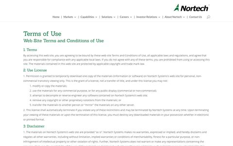 Screenshot of Terms Page nortechsys.com - Terms of Use - Nortech Systems, Inc. - captured Dec. 17, 2016