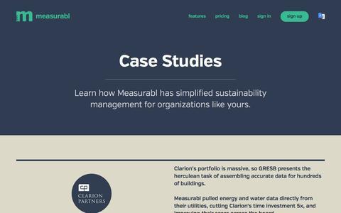 Screenshot of Case Studies Page measurabl.com - Sustainability Reports Case Studies   Measurabl - captured Dec. 4, 2015