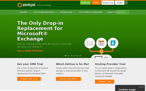 Screenshot of Home Page zentyal.com - Zentyal - Active Exchange - captured July 11, 2014