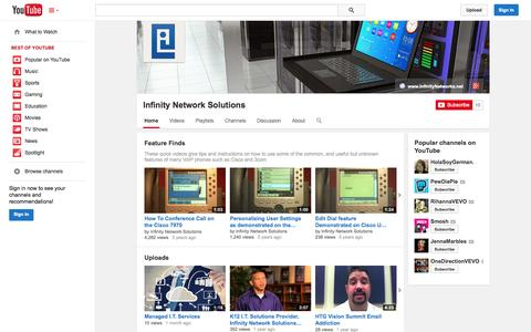 Screenshot of YouTube Page youtube.com - Infinity Network Solutions  - YouTube - captured Oct. 23, 2014