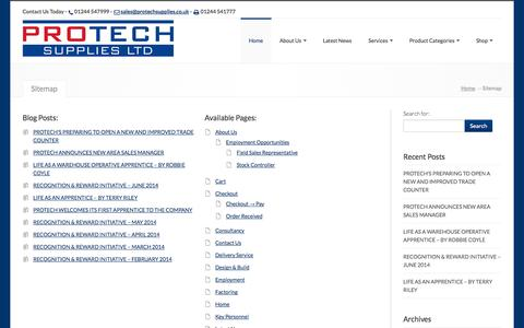 Screenshot of Site Map Page protechsupplies.co.uk - Protech Supplies Ltd, , Sitemap - Protech Supplies Ltd - captured Oct. 3, 2014