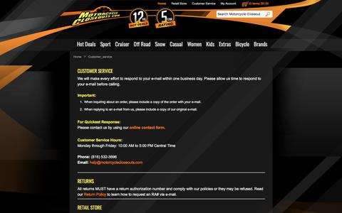 Screenshot of Support Page motorcyclecloseouts.com - Motorcycle Closeouts - captured July 4, 2018