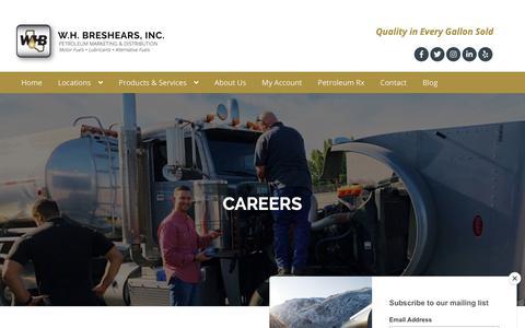 Screenshot of Jobs Page whbreshears.com - W.H. Breshears, Inc. • Careers - captured Dec. 20, 2018