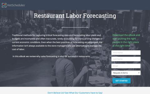 Screenshot of Landing Page hotschedules.com - HS eBook: Restaurant Labor Forecasting - captured March 8, 2018