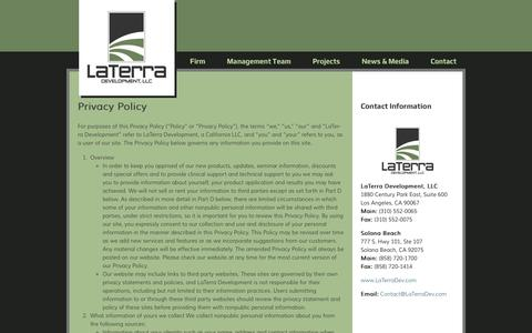 Screenshot of Privacy Page laterradev.com - Privacy Policy - LaTerra Development, LLC - captured Oct. 1, 2014