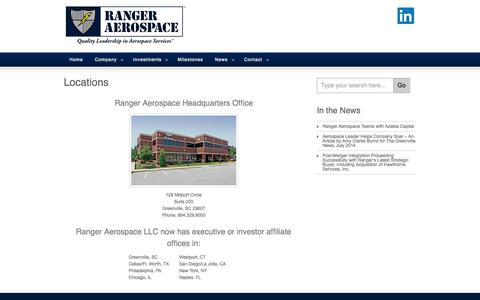 Screenshot of Locations Page rangeraerospace.com - Locations » Ranger Aerospace - captured Oct. 7, 2014