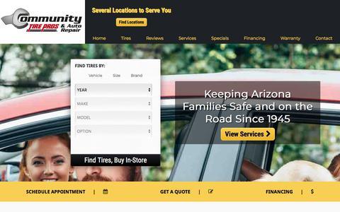 Screenshot of Home Page communitytirepros.com - Tires & Auto Repair in Phoenix & Glendale, AZ  | Community Tire Pros & Auto Repair - captured Aug. 14, 2019