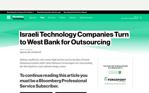 Screenshot of Press Page bloomberg.com - Israeli Technology Companies Turn to West Bank for Outsourcing - Bloomberg - captured Oct. 21, 2017