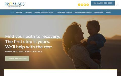 Screenshot of Home Page promises.com - Promises Treatment Centers | Substance Abuse & Dual Diagnosis Treatment Centers - captured Sept. 27, 2019