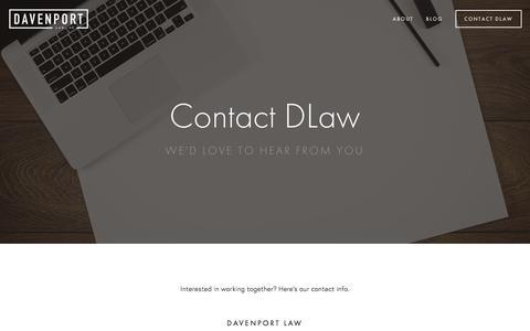 Screenshot of Contact Page davenportlaw.com - Contact DLaw — Davenport Law - captured Jan. 9, 2016