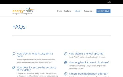Screenshot of FAQ Page energyacuity.com - FAQs - Energy Acuity - captured Sept. 16, 2018